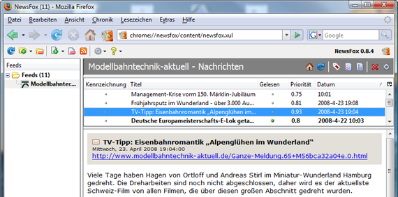 NewsFox-Add-On für Firefox 2.0