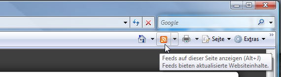 Das RSS-Icon im Internet Explorer 7