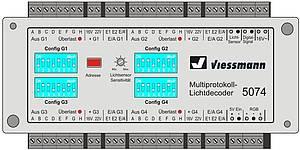 Der Viessmann Multiprotokoll-Lichtdecoder Art.-Nr. 5074 ist eine leistungsfähige, digitale Lichtsteuereinheit für eine Vielzahl von faszinierenden Lichteffekten für den Modellbau und Ihre Modellbahn-Anlage